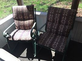 Wrought iron patio rockers w/cushions