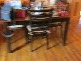 BLACK ACCENT DINING TABLE AND CHAIRS (SORRY FUZZY)
