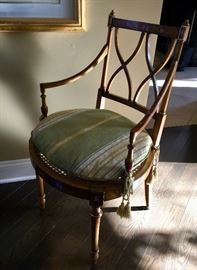 "19. Cornelio Cappellini MCMXCV Italian Handcarved Handpainted Cane Seat Chair w/ Damask Seat Cushion (18"" x 20"" x 35"")"