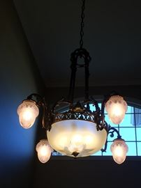58. Antique French Entry Chandelier w/ Brass & Frosted Glass