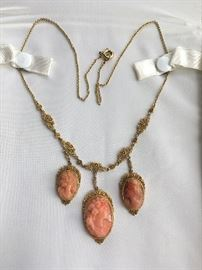 Heirloom 18k gold and high relef coral cameo necklace.