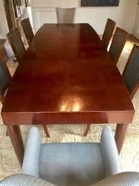 "4. Banded Mahogany Inlaid Dining Table w/ 2  22"" leaves (60"" x 22"", extends to 48"")"