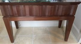 "7. Banded Mahogany Console Table w/ Two Drawers & Three 23"" leaves (51"" x 23"" x 34"", extends to 120"")"