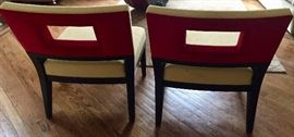 "8. Pair of Christian Liaigre for Holly Hunt Slipper Chairs Upholstered in Yellow Boucle w/ Red Suede back ( 24"" x 32"" x 30"")"