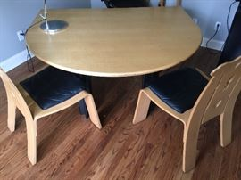 "61. Custom Maple Top Desk w/ Black Metal Base (60"" x 50"" x 29"")                                                                                                   62. Pair of Knoll Robert Venturi ""Chippendale"" Chairs (24"" x 24"" x 38"")"
