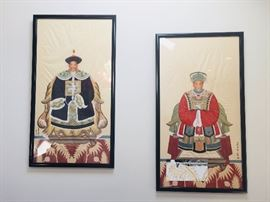 "1. Pair of Watercolors of Chinese Men (30"" x 54"")"