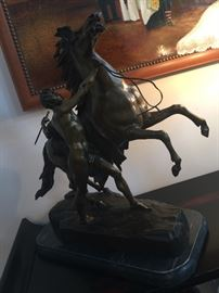 "2. Pair of Bronze Statues of Men 0n Stallions by G. Coustou (19"" x 20"" x 24"")"