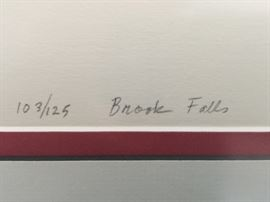 "4. ""Brook Falls"" Lithograph Numbered 103/125 and Signed by Pres Topino"