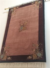 106. Antique Handknotted Wool Rug, Burgundy w/ Floral Designs on Corners (4' x 6')
