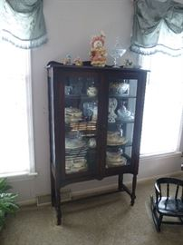ANTIQUE  DISPLAY CABINET ON LEGS