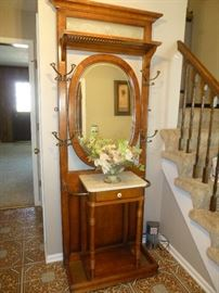 ENTRYWAY - MIRRORED HALL TREE COAT STAND