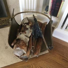 Fireplace antique log holder $55