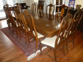 LARGE WOOD DINING TABLE W/2 LEAFS & 12 CHAIRS