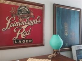 Vintage beer sign, lamp and art print sold