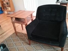 handmade all wood end table, mid century black velveteen chair...SOLD