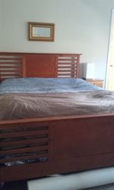 Gorgeous all wood bed, queen, lamp and mirror also for sale