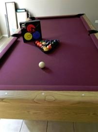8' POOL TABLE.  INCLUDED POOL BALLS.