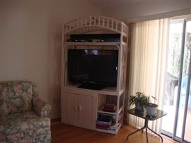Cane & Wicker open Armoire (TV not for sale)