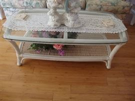 Cane & wicker coffee table