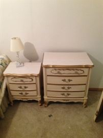 French Provincial! One of two nightstands and 4 drawer smaller chest!