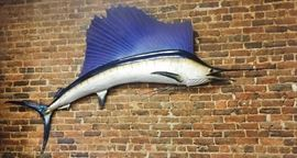 Real Approx. 8 Ft Mounted Marlin. Not Responsible for Accidents. Cash only sale.  ALL SALES ARE FINAL! Bring Help to Load Large Items.