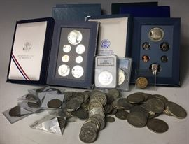 Morgan and Peace dollars. Pre 1964 Half Dollars etc.   Cash only sale. Bring Help to Load Large Items.