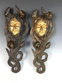 Original Signed Bouval Art Nouveau Maiden sconces