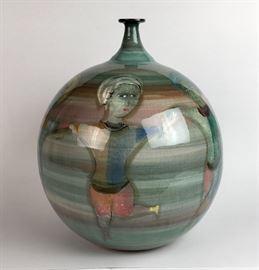 "Oversized Pillin pottery vase 12 1/2"" tall X 10""wide"