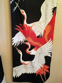 Kimono with Japanese Cranes