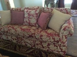 Matching Broyhill three cushion sofas - burgundy & gold with coordinating pillows