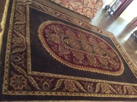 Brown & Burgundy 8' x 11' area rug - Coliseum Sable Brown - 100% Wool Pile Handcrafted in India