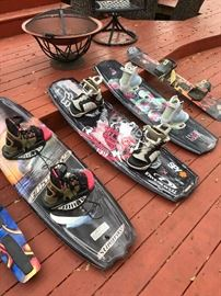 "Stingray Blindside 142 cm wakeboard @ $148, Liquid Force Redmon Design wakeboard 139.5 x 43.5 @ $300, Liquid Force Redmon Marquardt ""Angel"" @ $260, and Lamar snowboard @ $86"