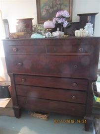 19th C chimney back pine chest. This piece stores a lot and is in very good condition.