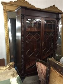 Chippendale glass front bookcase.