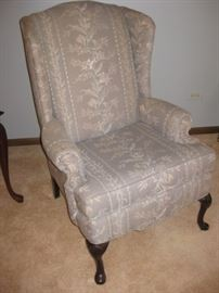 Gray wing-back accent chair