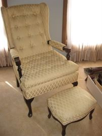 Vintage arm chair w/ottoman; soft yellow color