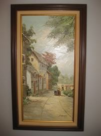 Street scene oil painting, signed by artist