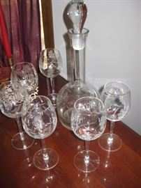 Crystal etched wine decanter and 6 wine stems; so pretty