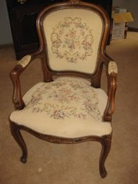 French needlepoint accent chair