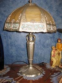 Antique slag glass table lamp; art nouveau