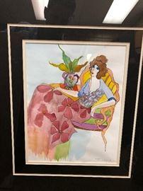 Original watercolor by Tarkay