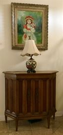 hall table, lamp and painting