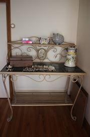 Bakers Rack with Tile Top and Decorative Items