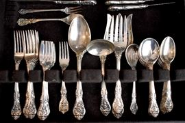 King Edward by Gorham sterling flatware, 53 piece place set, service for eight with extras and serving pieces.