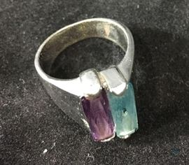 Ring with blue and purple Stones