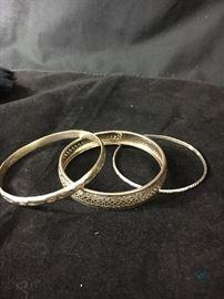Silver Bangle Bracelets (3)