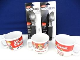3 Campbells Soup Mugs and 2 Oxo Ice Cream Scoops