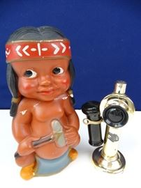 50s Duquesne Indian Boy Statuary  Gold Phone