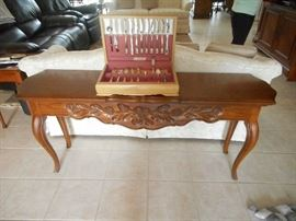 French influence sofa table and a set of silver service for eight 8 with the box