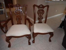 Chippendale chairs , set of six available, neutral upholstery in beautiful condition, with a matching table